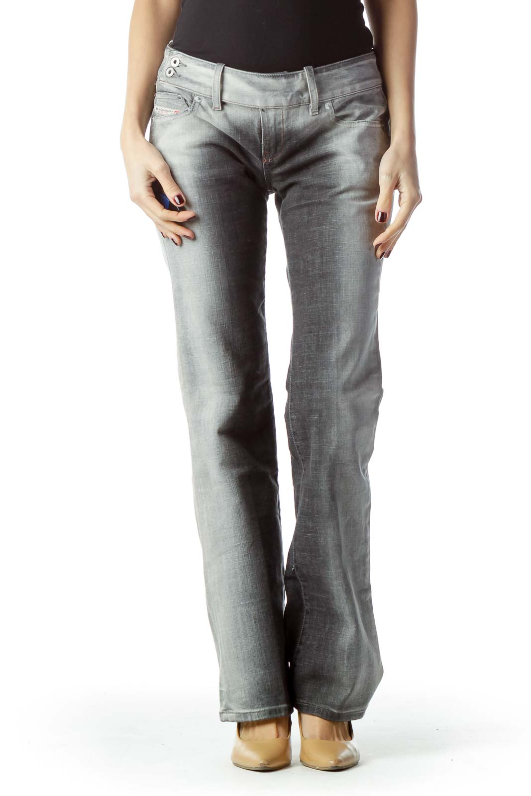 Two-Tone Gray Denim Jeans Front
