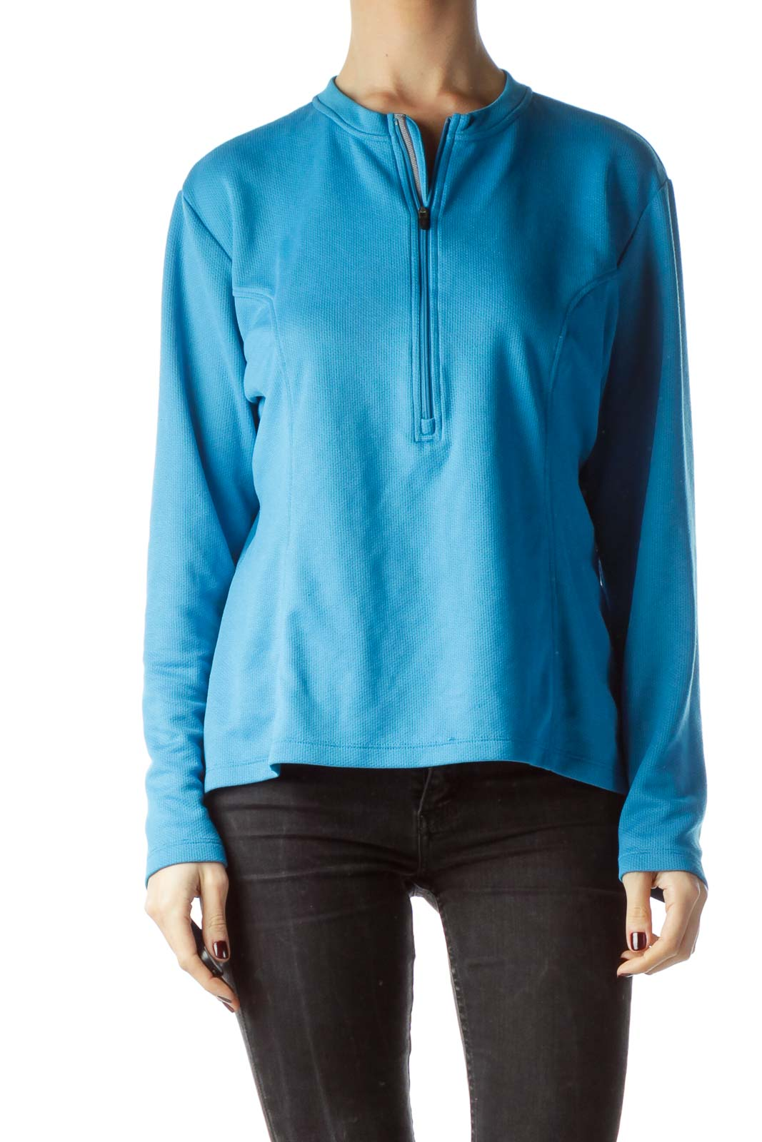 Teal Blue Front Zipper Stretchy Sports Jacket Front