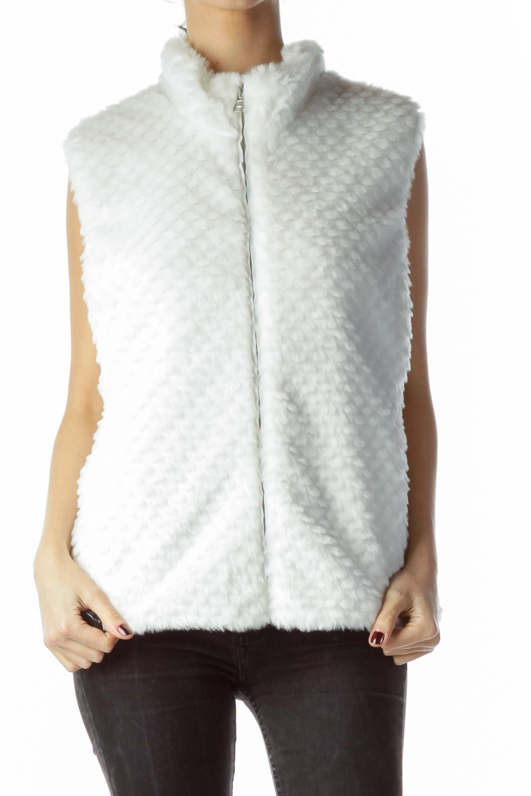 White Zippered Pocketed Faux-Fur Vest Front