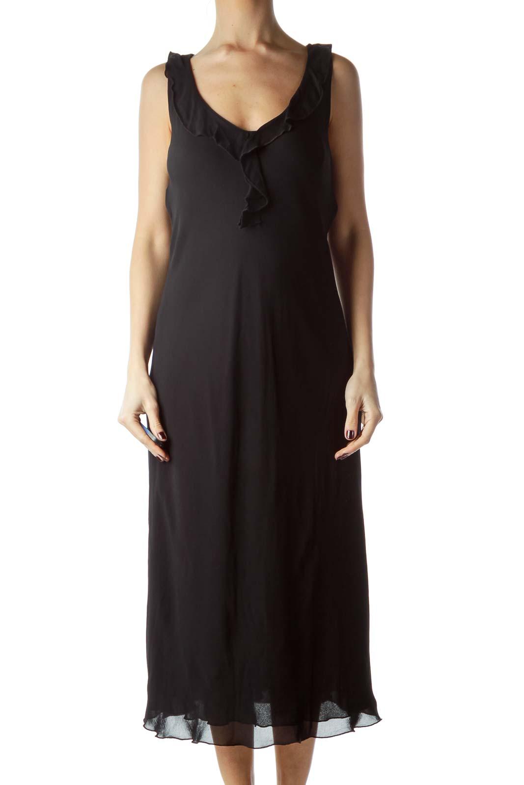 Black V-Neck Flared Neckline Shift Dress Front