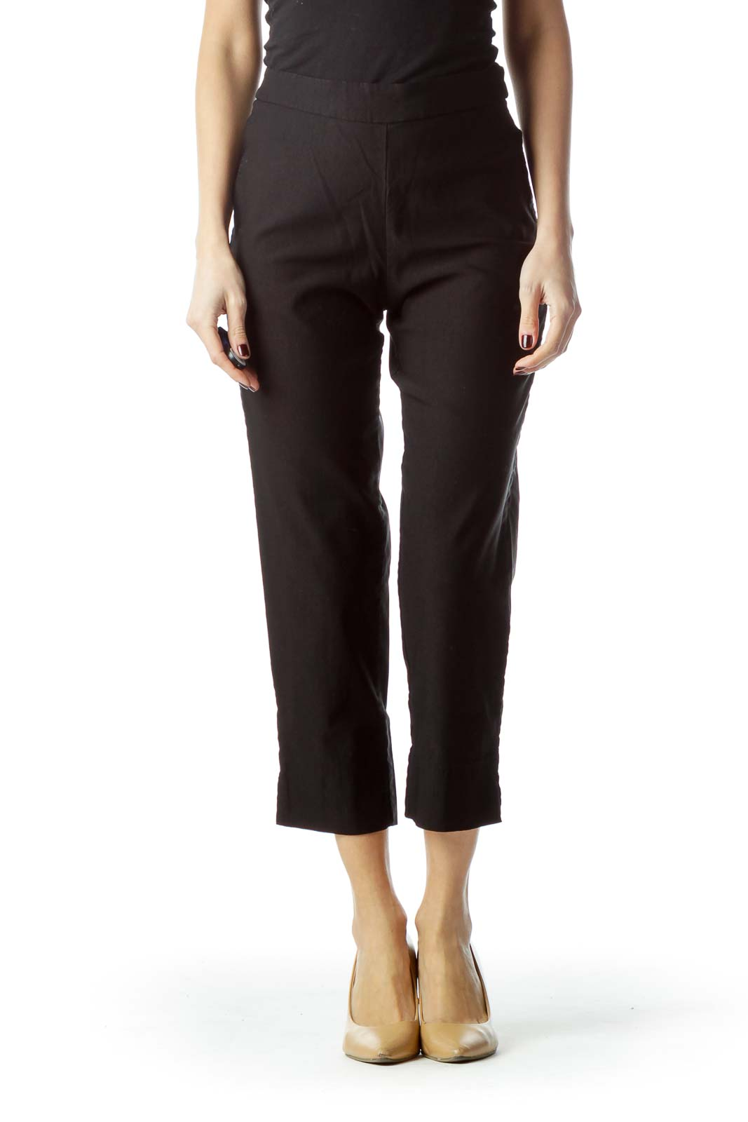 Black Stretch Cropped Pants Front