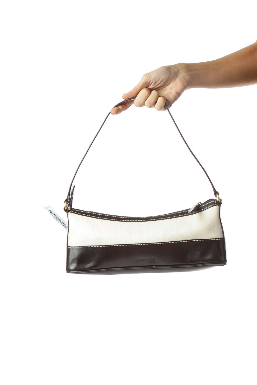 Black Cream Textured Cut-Out Logo Shoulder Bag Front
