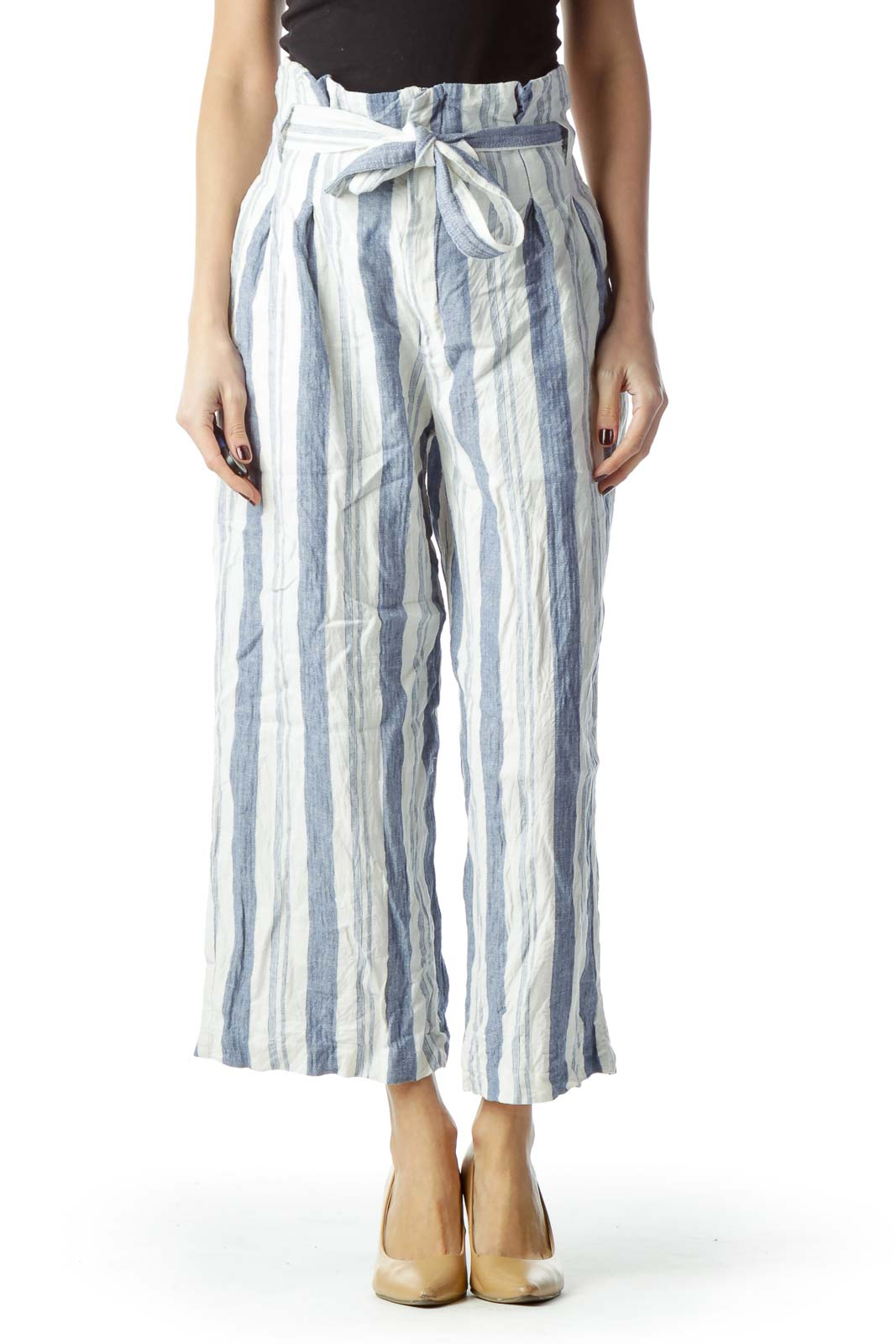 Blue White Striped High-Waisted Belted Pants Front