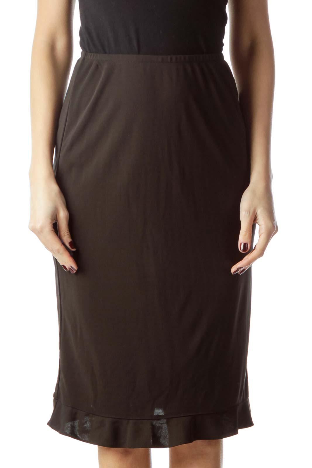 Black Stretch Midi Flared Skirt Front