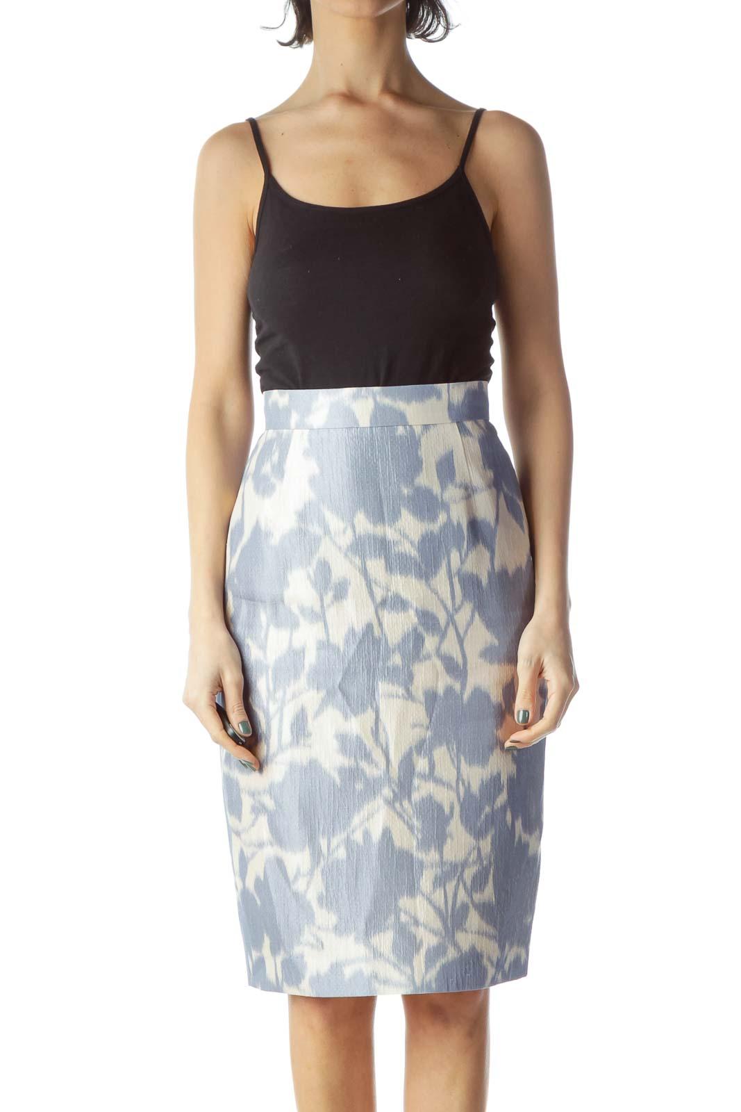 Blue Print Silk Pencil Skirt Front