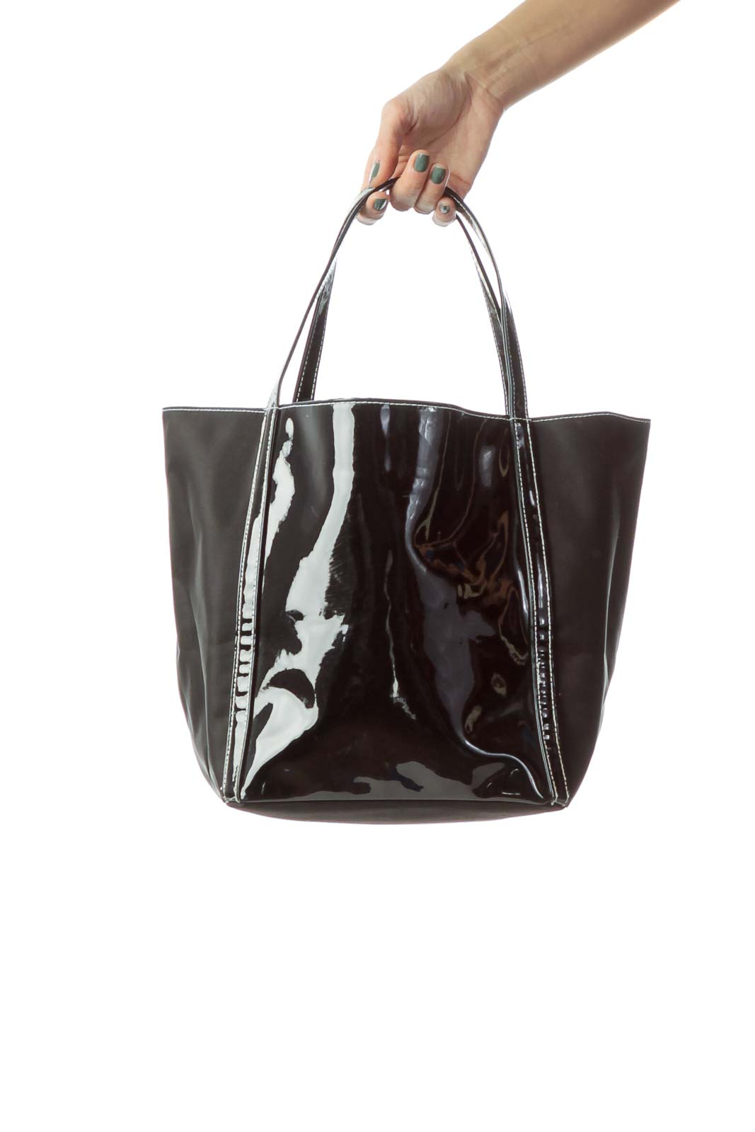 Black Patent Leather & Nylon Tote Front