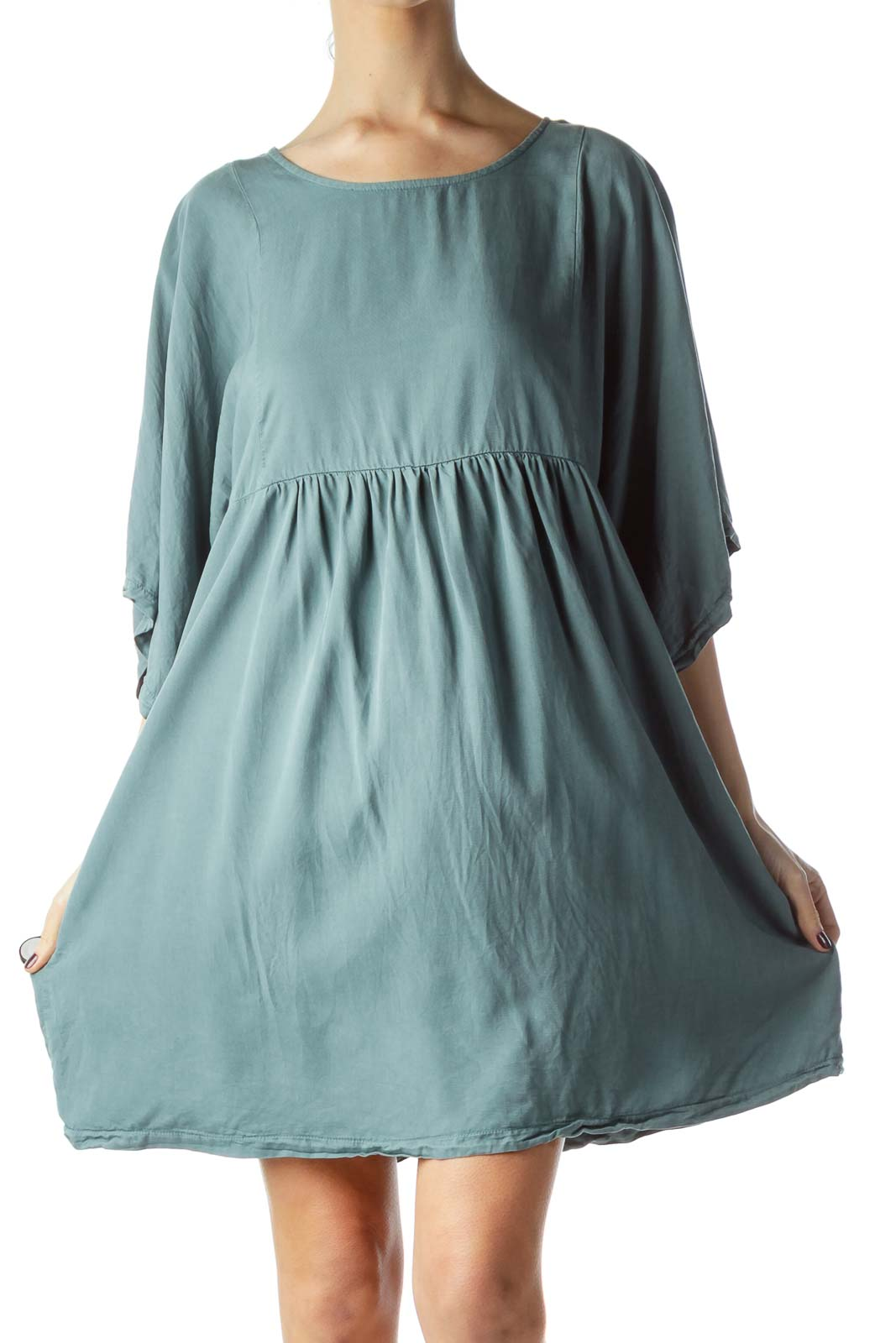 Washed Green Empire Waist Flared Dress Front