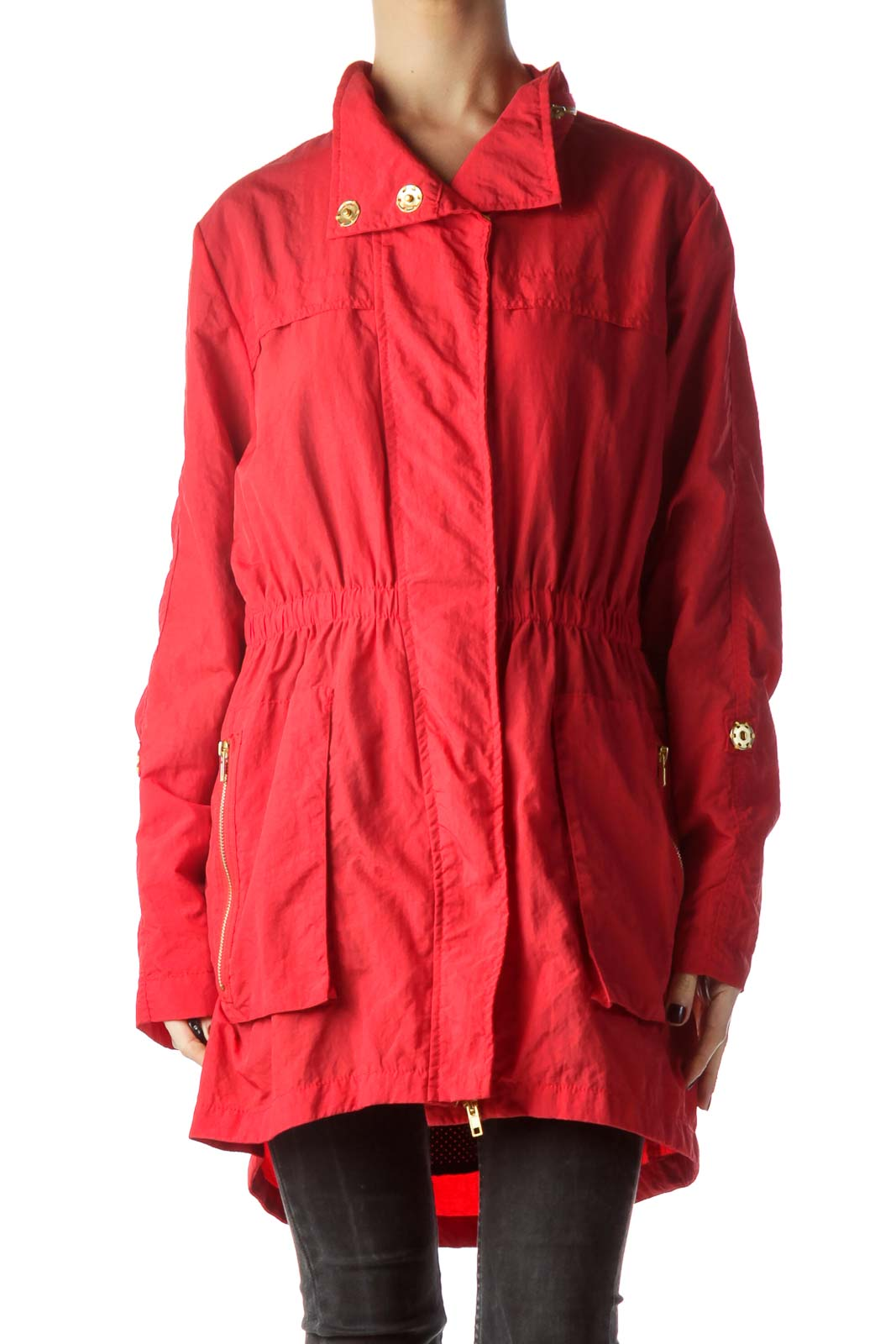 Red Gold Zippers and Buttons Long Jacket Front