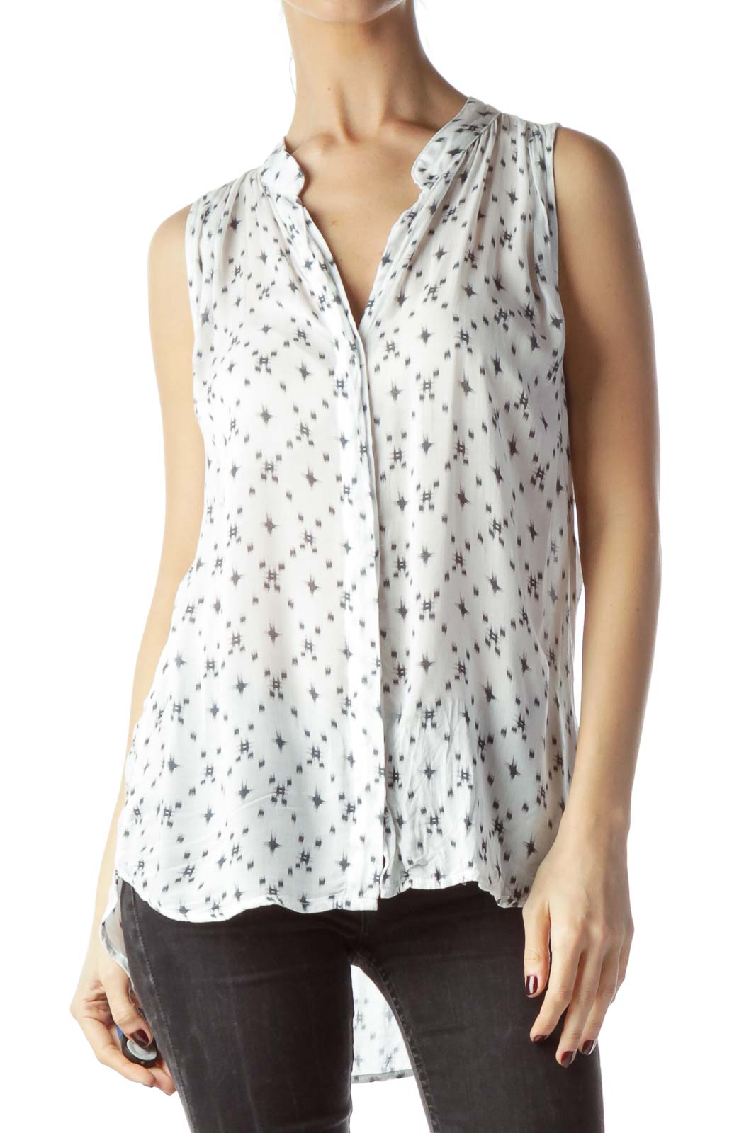 White Gray Printed Light Sleeveless Blouse Front