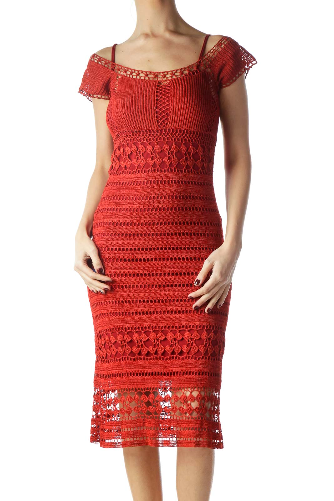 Red Short Sleeve Crochet Dress with Slip Front