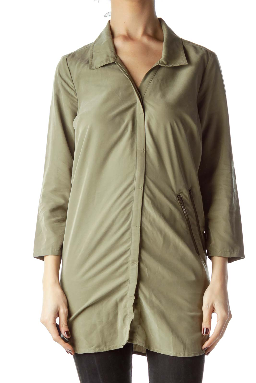 Army Green Long Shirt with Zipper Accents Front