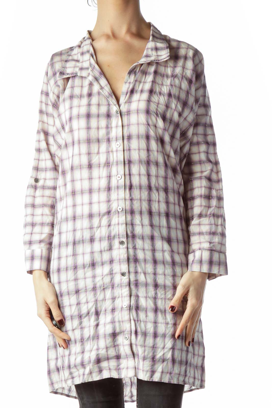 Purple Gold Thread Plaid Buttoned Long Shirt Front
