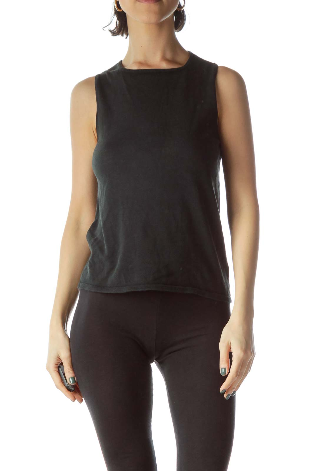 Black 100% Silk Sleeveless Knit Vest Front