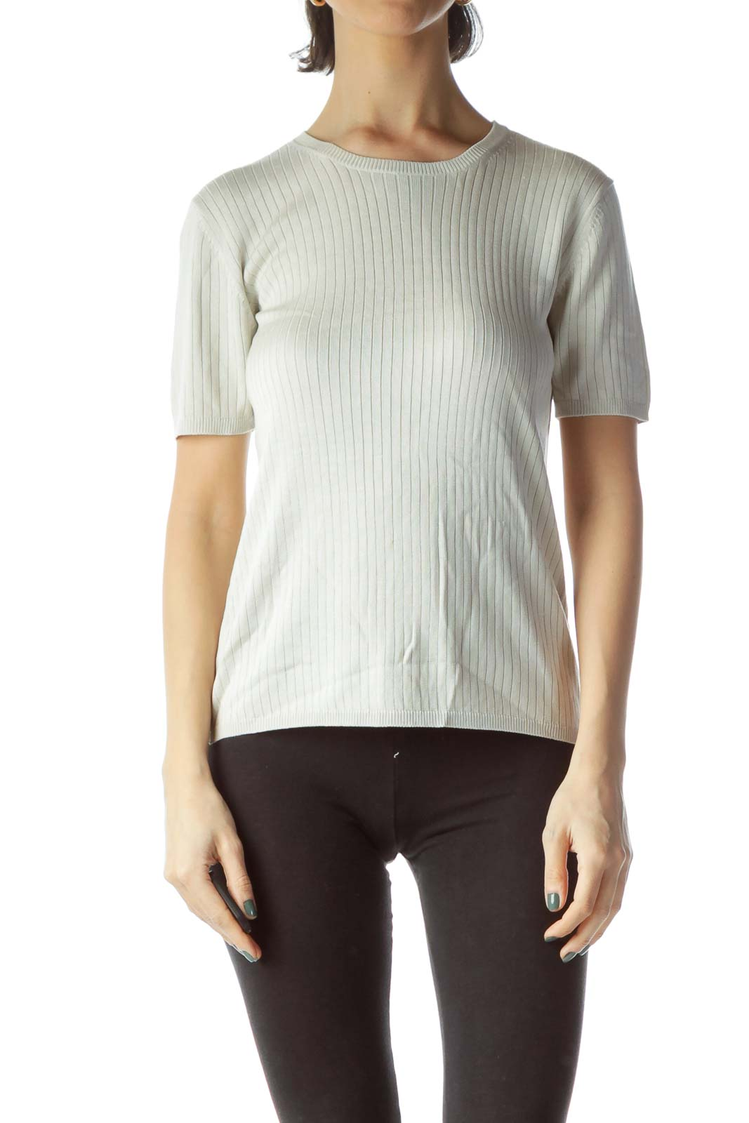 Light Gray 100% Silk Stretch Knit Top Front
