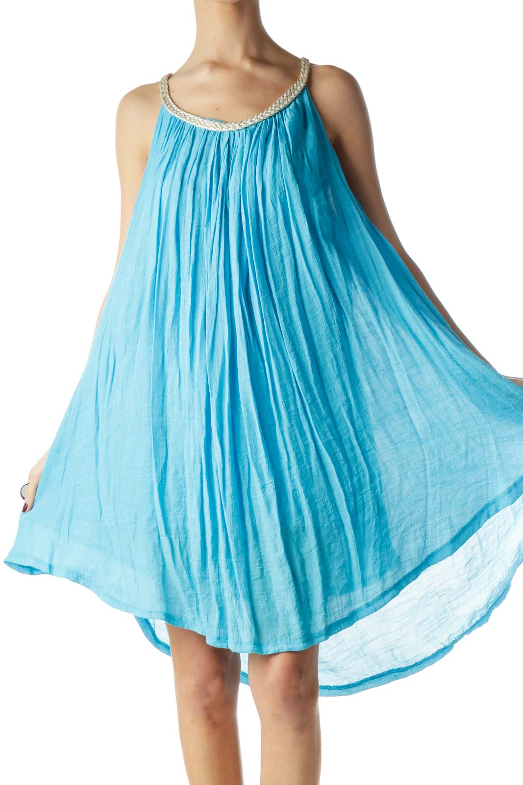 Turquoise Blue Halter Neckline Flared Dress Front