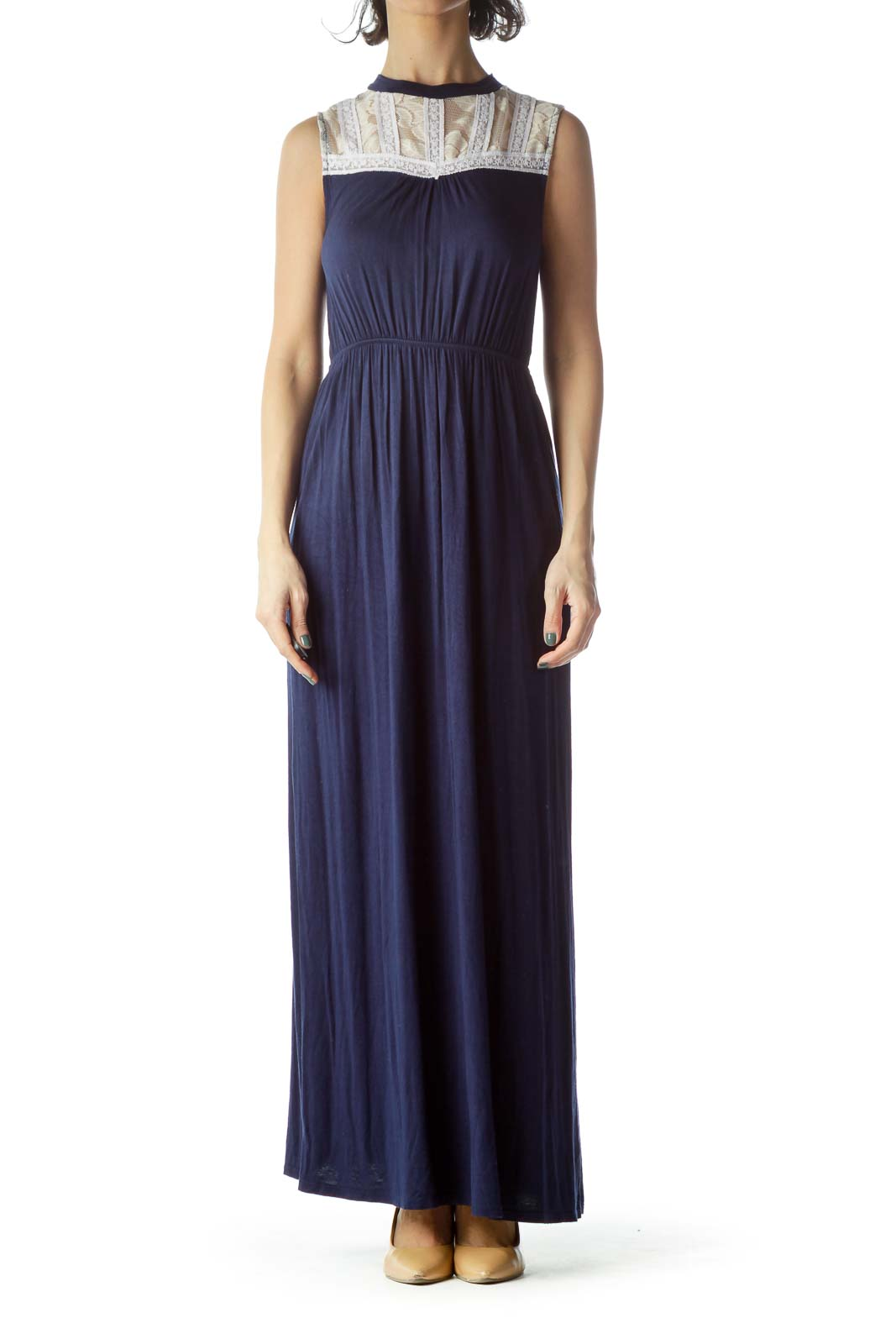 Navy Blue Cream Lace Jersey-Knit Maxi Dress Front
