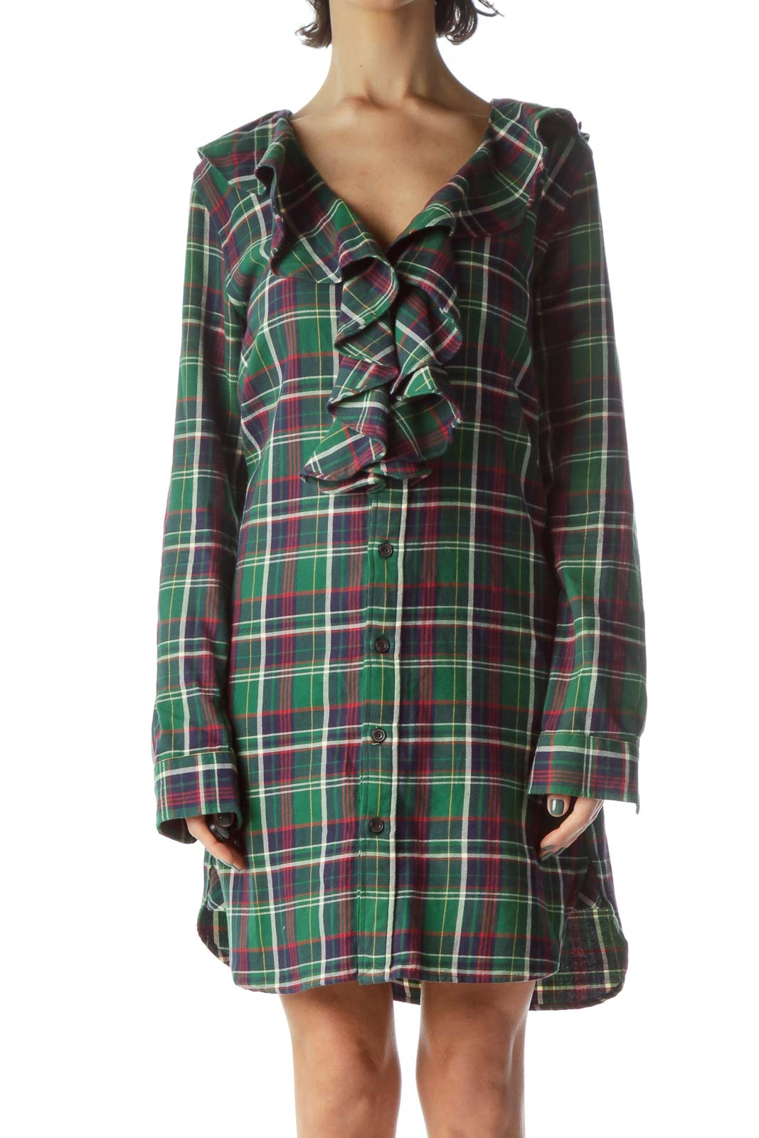 Green Red Blue Plaid 100% Cotton Knit Dress Front