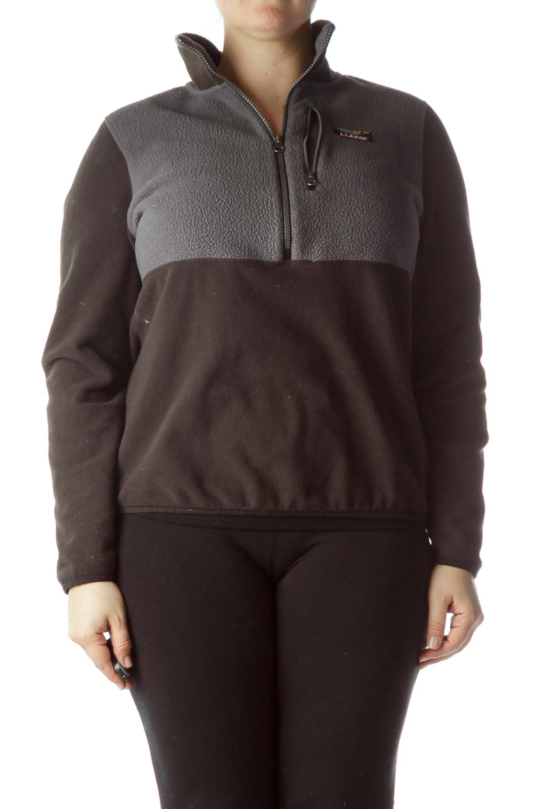 Gray Black Zippered Fitted Fleece Jacket Front
