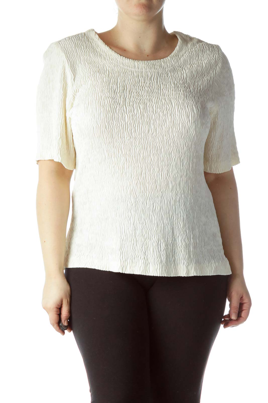 Cream Textured Knit Stretch Top Front