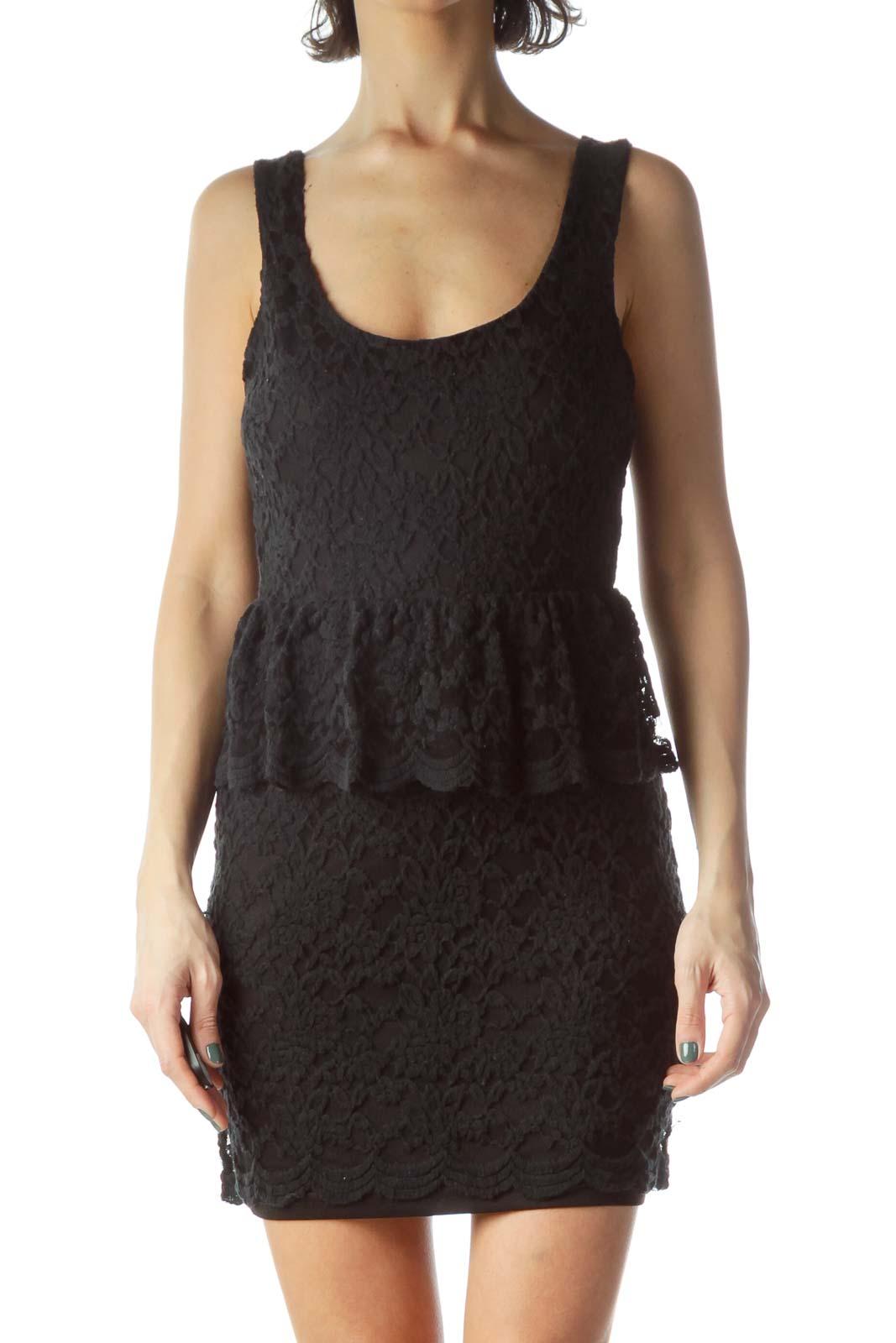 Black Open-Back Lace Dress Front
