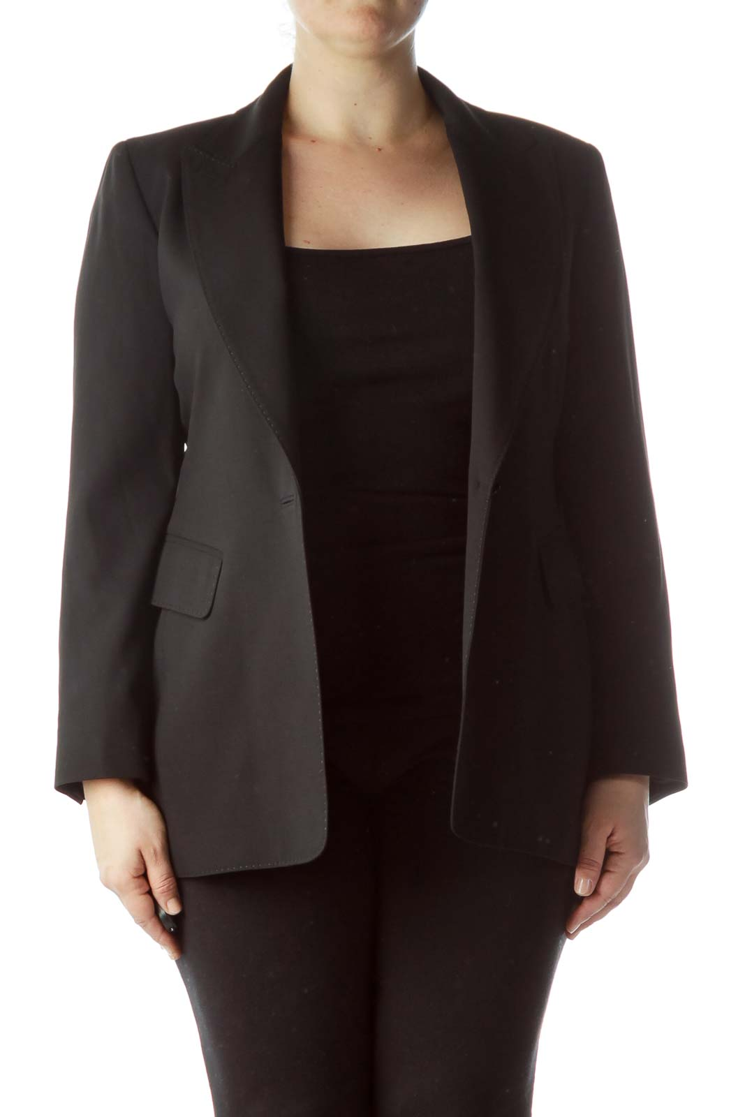 Black Buttoned 100% Wool Blazer Front