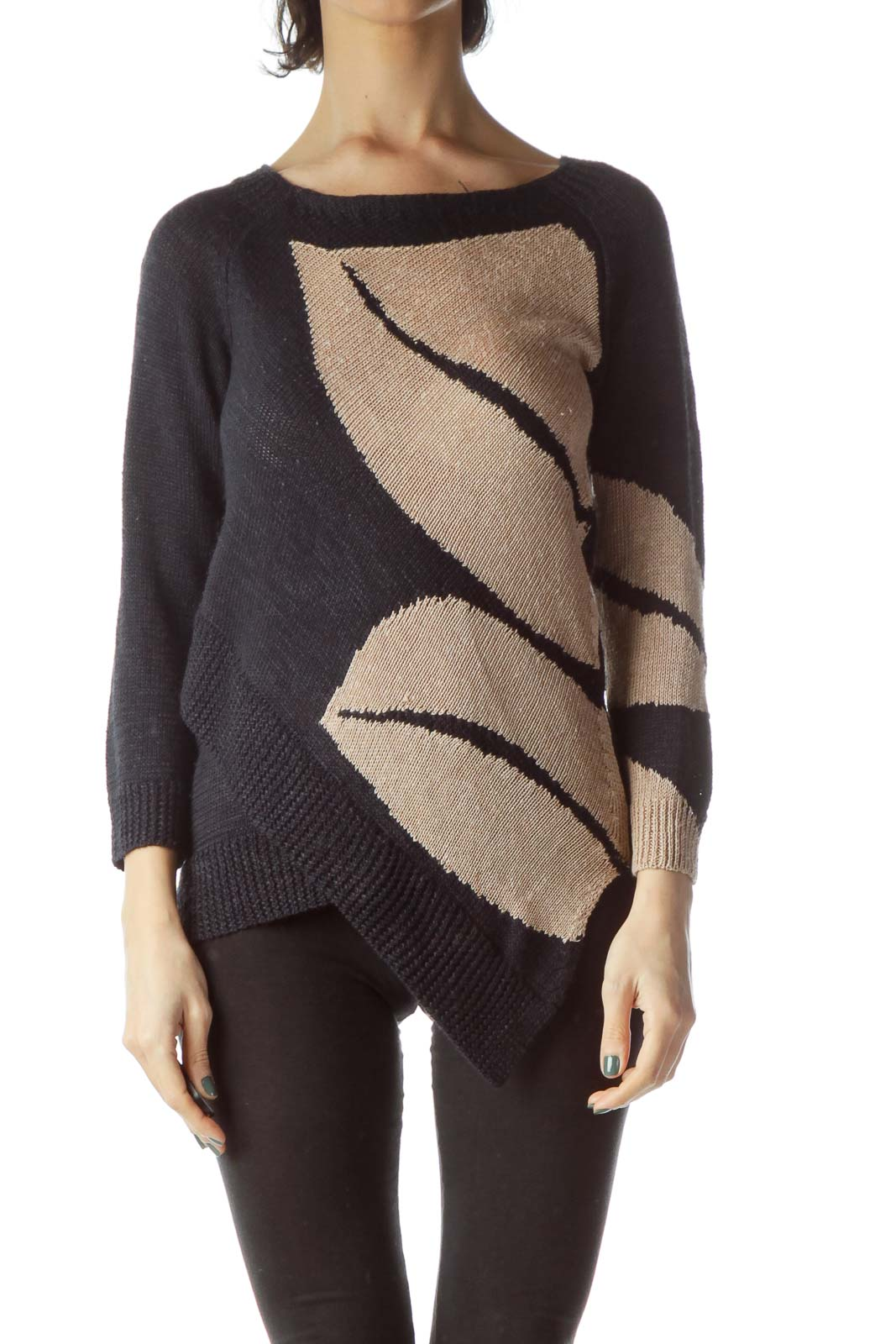 Navy Blue Beige Long Sleeve Knit Sweater Front