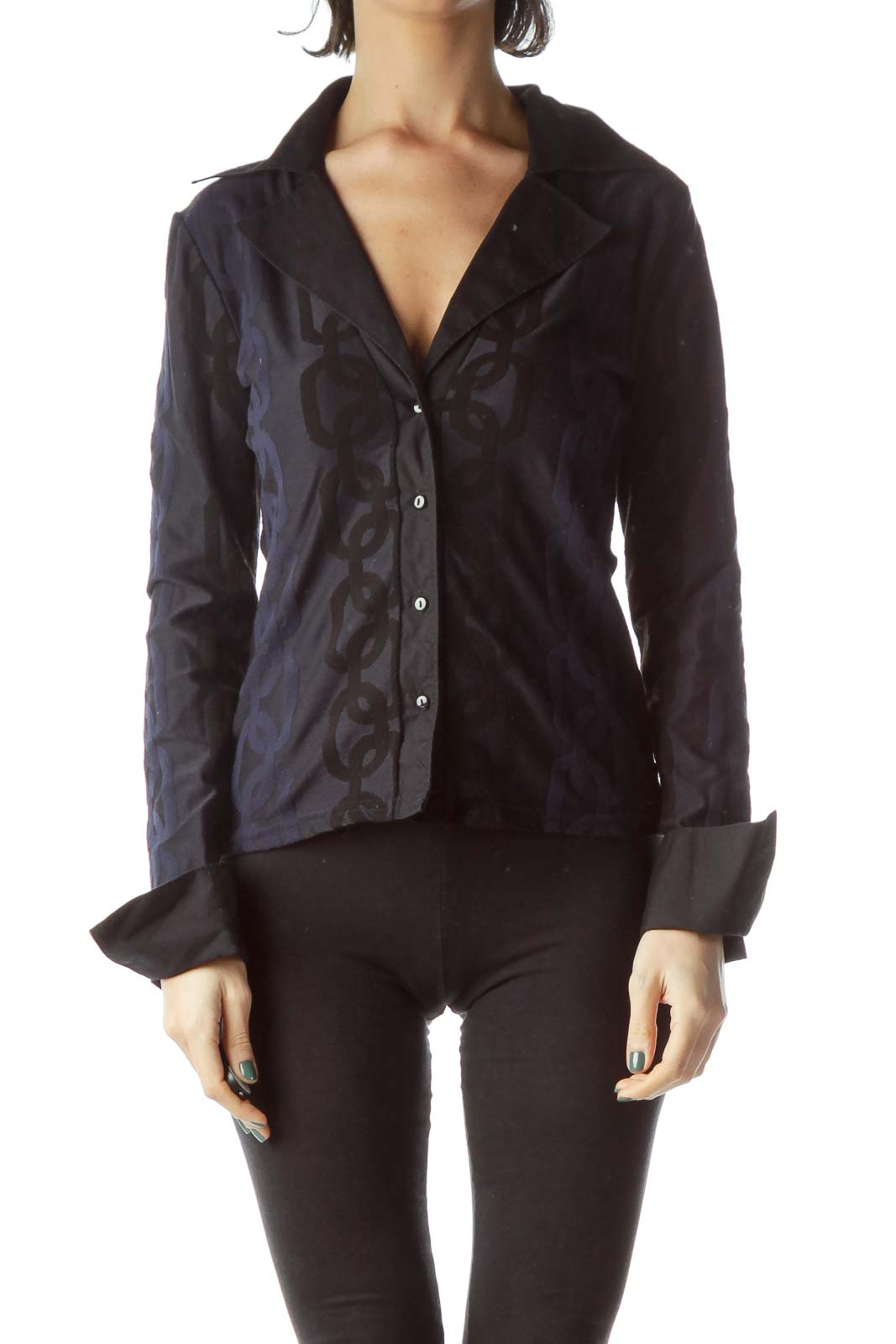 Black Navy Blue Jacquared Collared Knit Top Front