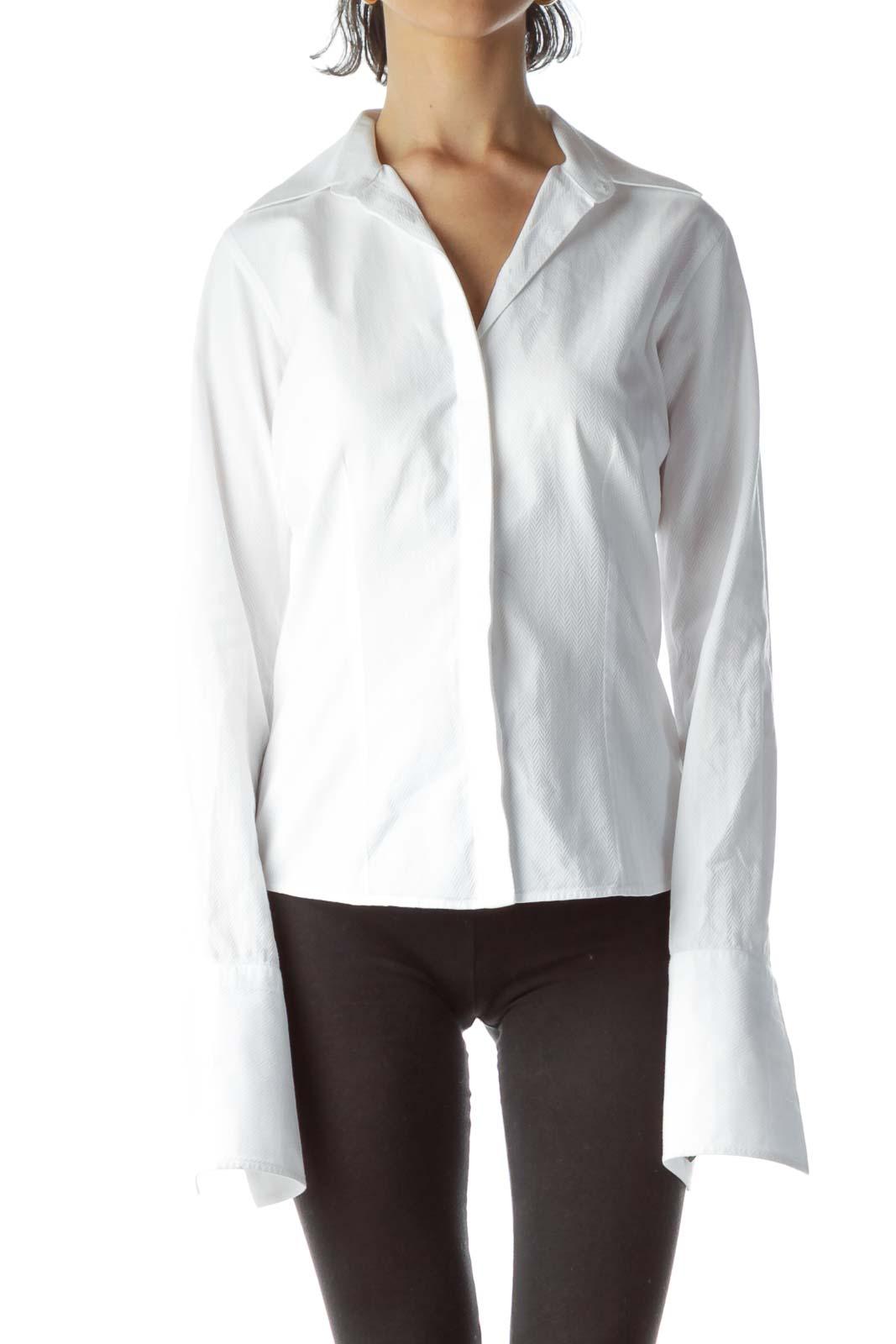 White 100% Cotton Textured Shirt Front