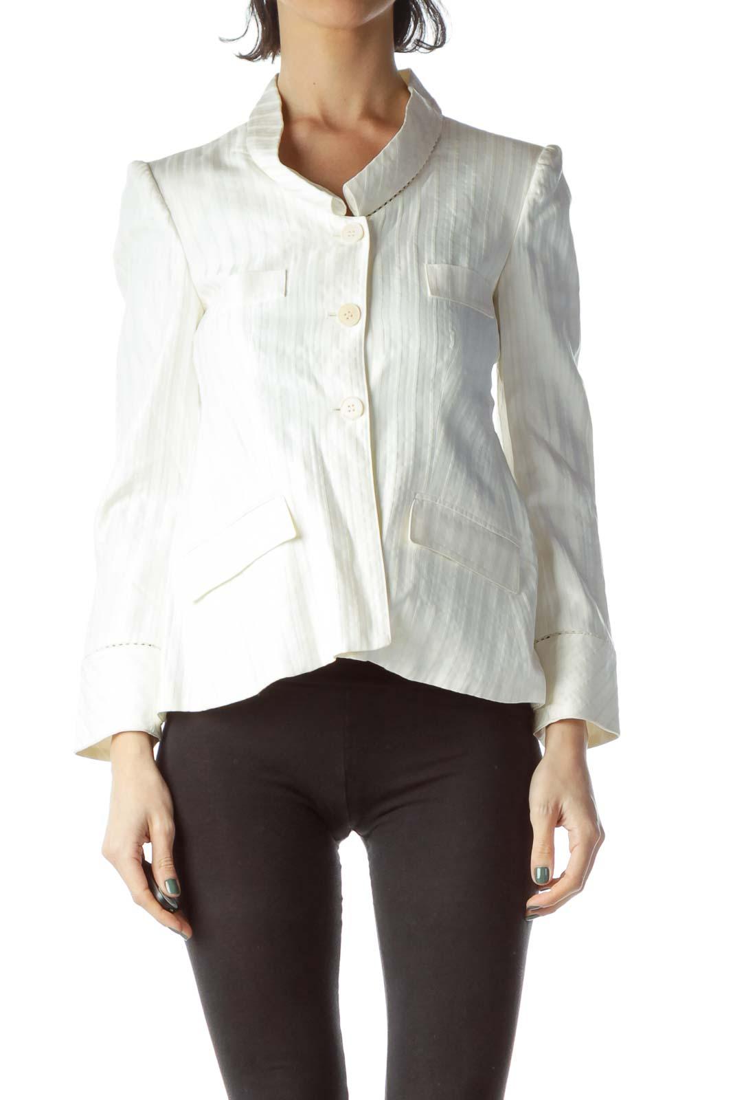 White Pinstripe Buttoned Blazer Front