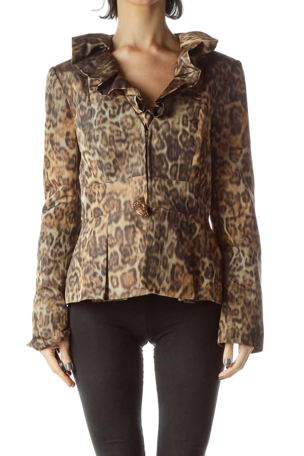 Brown Leopard Print Ruffle Collar Jacket Front