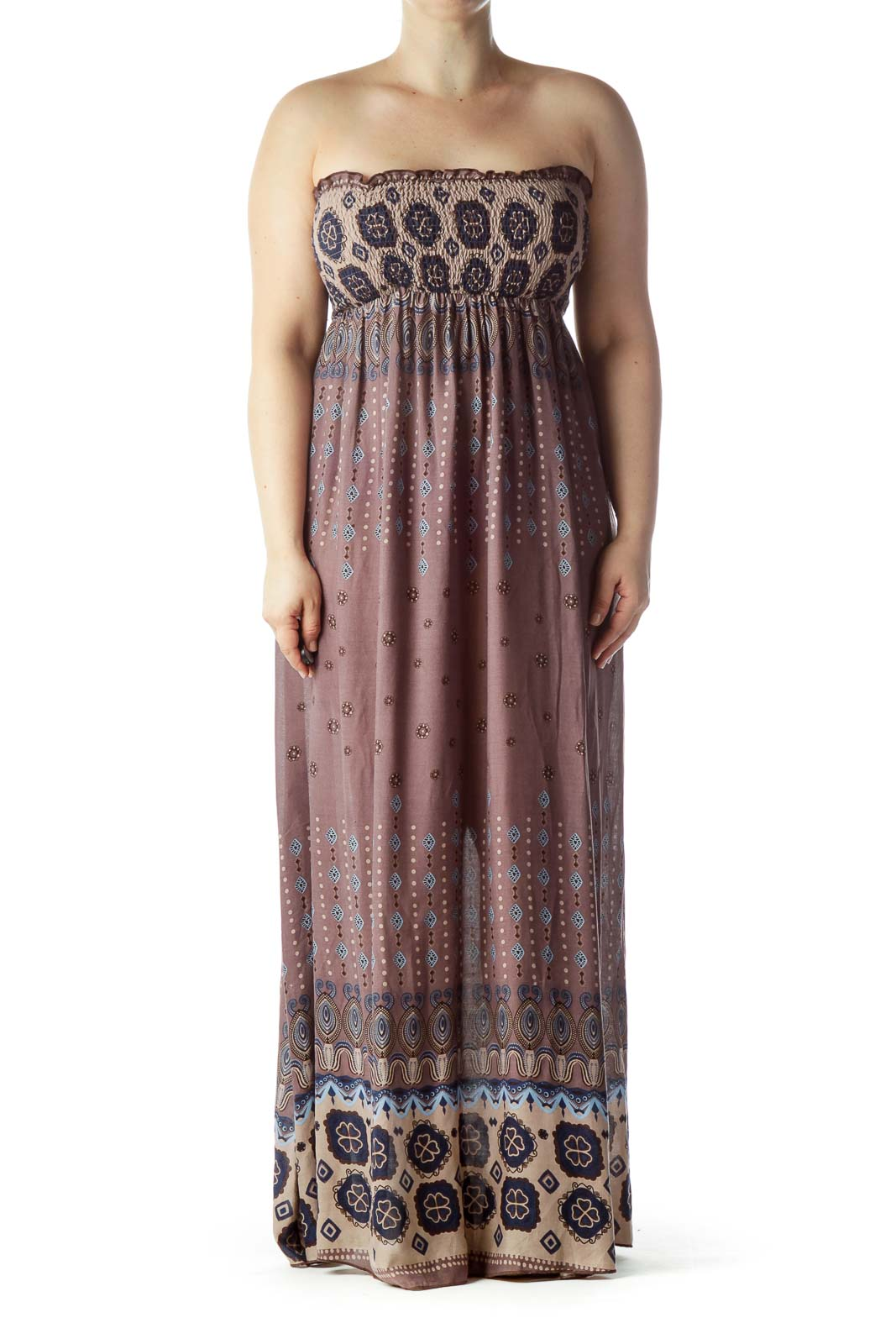 Brown Blue Strapless Printed Maxi Dress Front