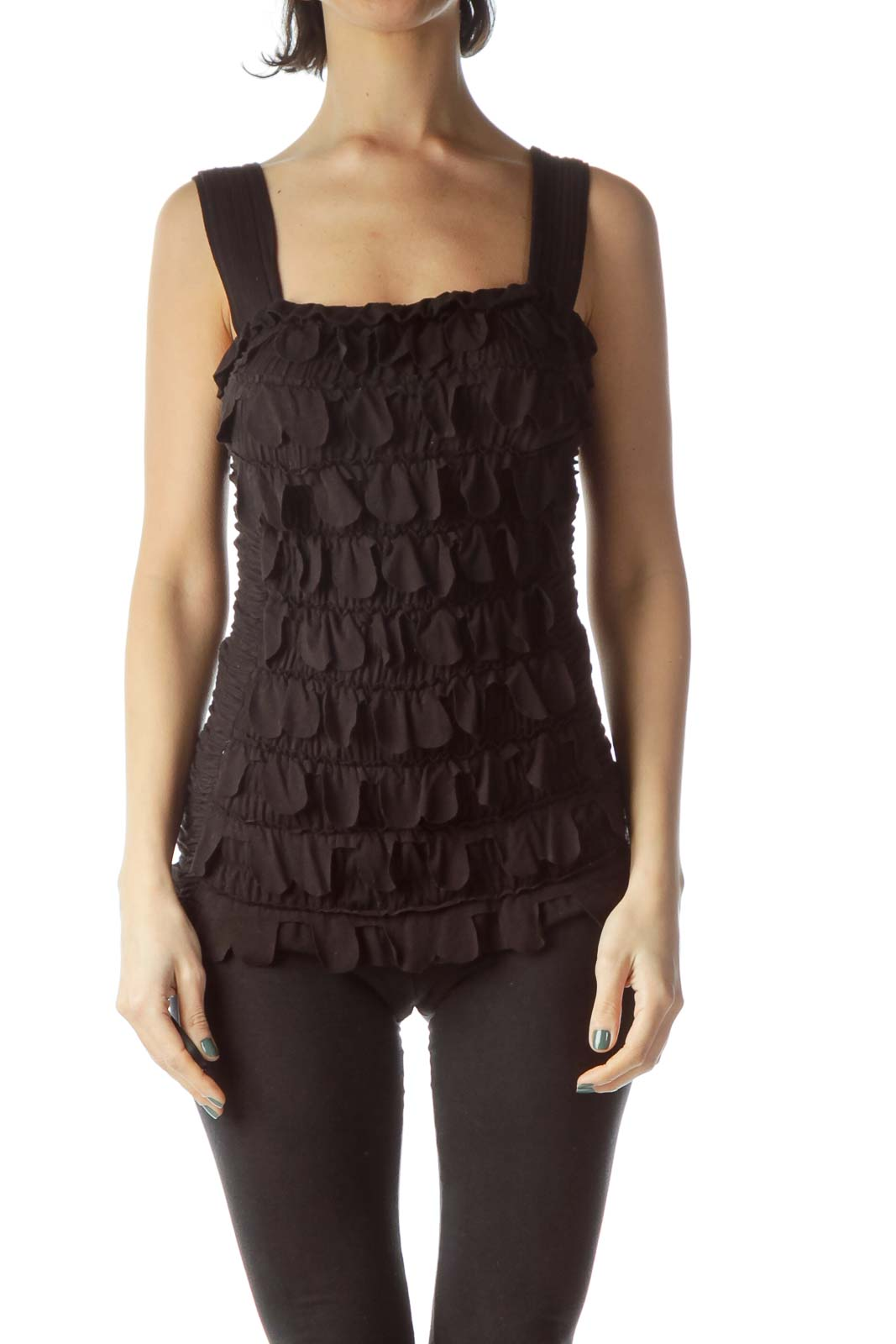 Black Sleeveless Scrunched Ruffled Body Top Front