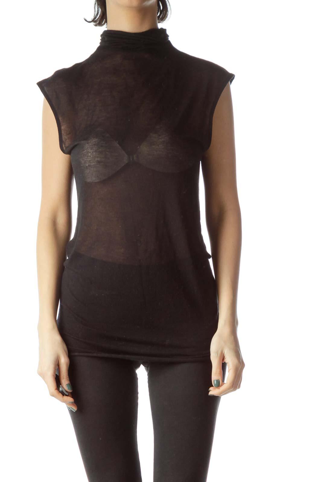 Black See-Through Turtle Neck Knit Vest Front