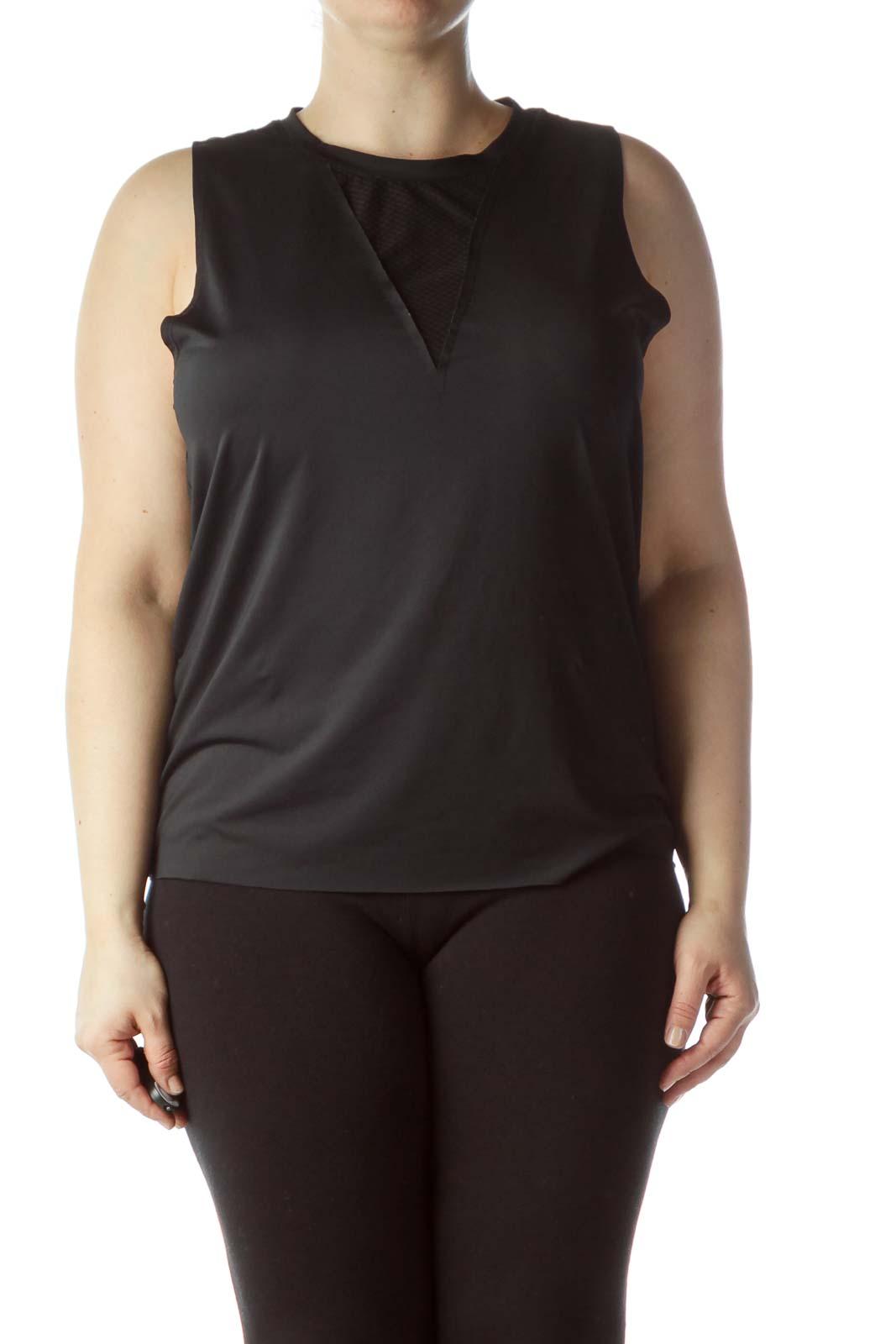 Black Round Neck Sleeveless Yoga Top Front