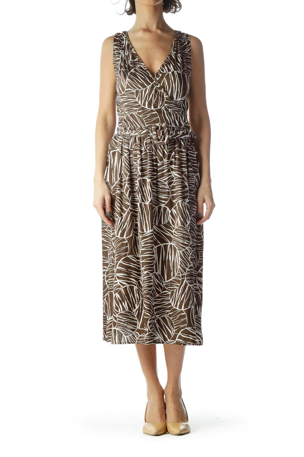 Brown Cream Printed 100% Cotton Belted Dress Front