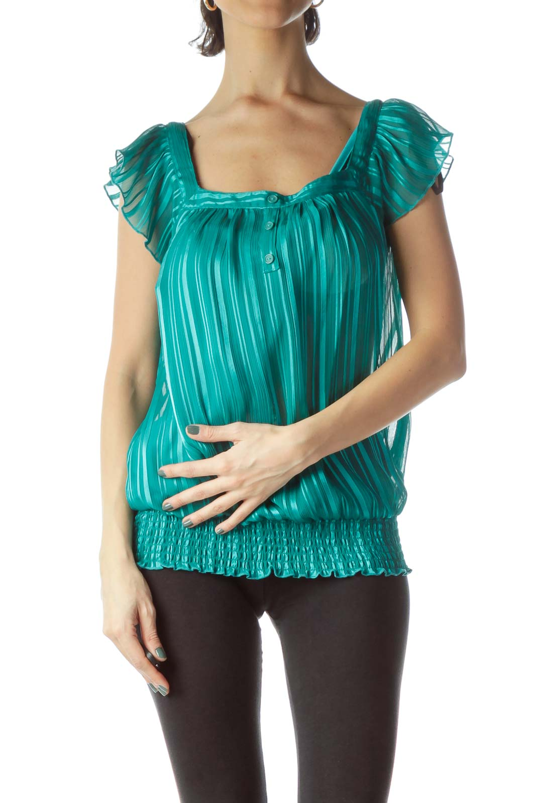 Teal Blue Square Neck Chiffon Blouse Front