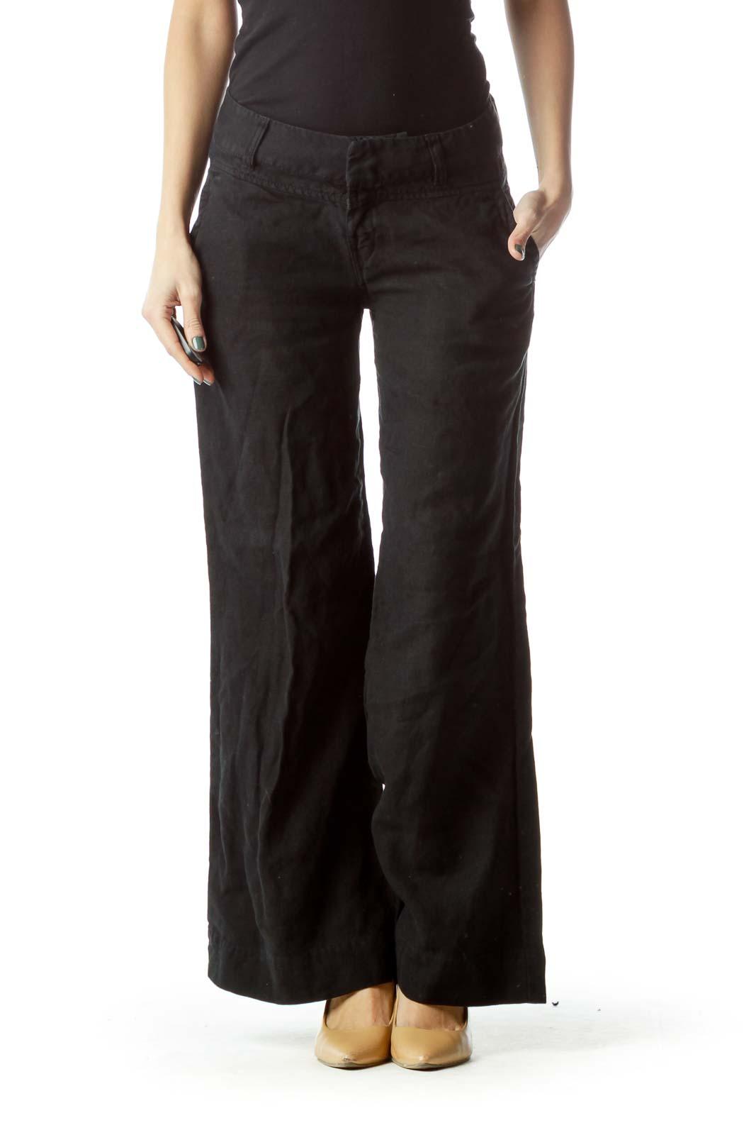Black Wide-Leg Linen Pants Front
