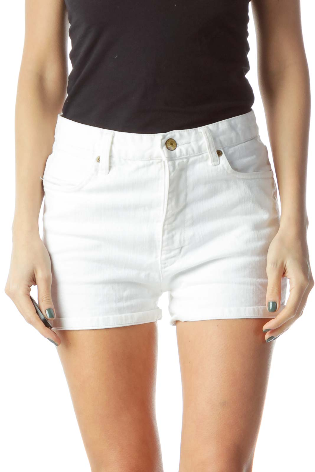 White Denim Shorts Front