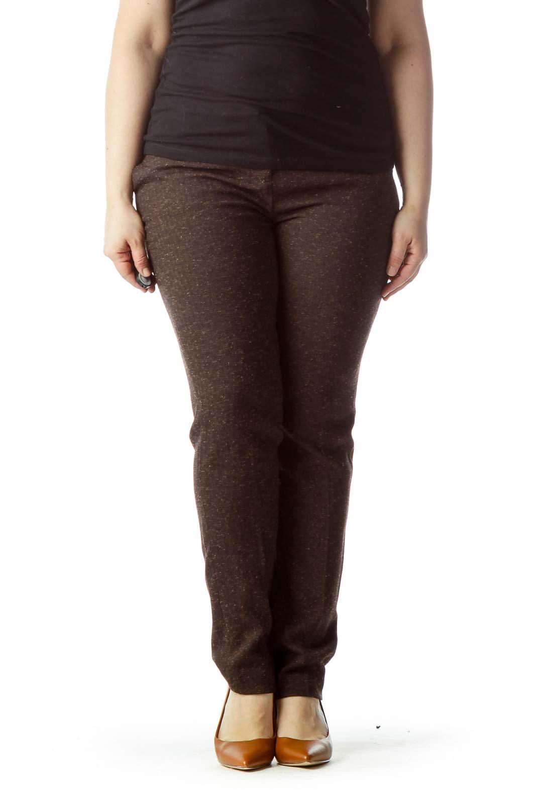 Brown Mottled Straight Leg Pants Front