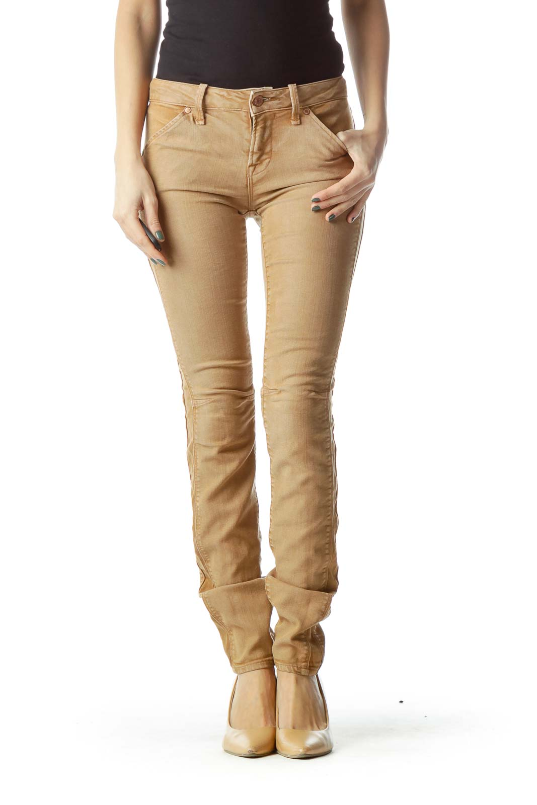 Brown Lyocell Skinny Jeans Front