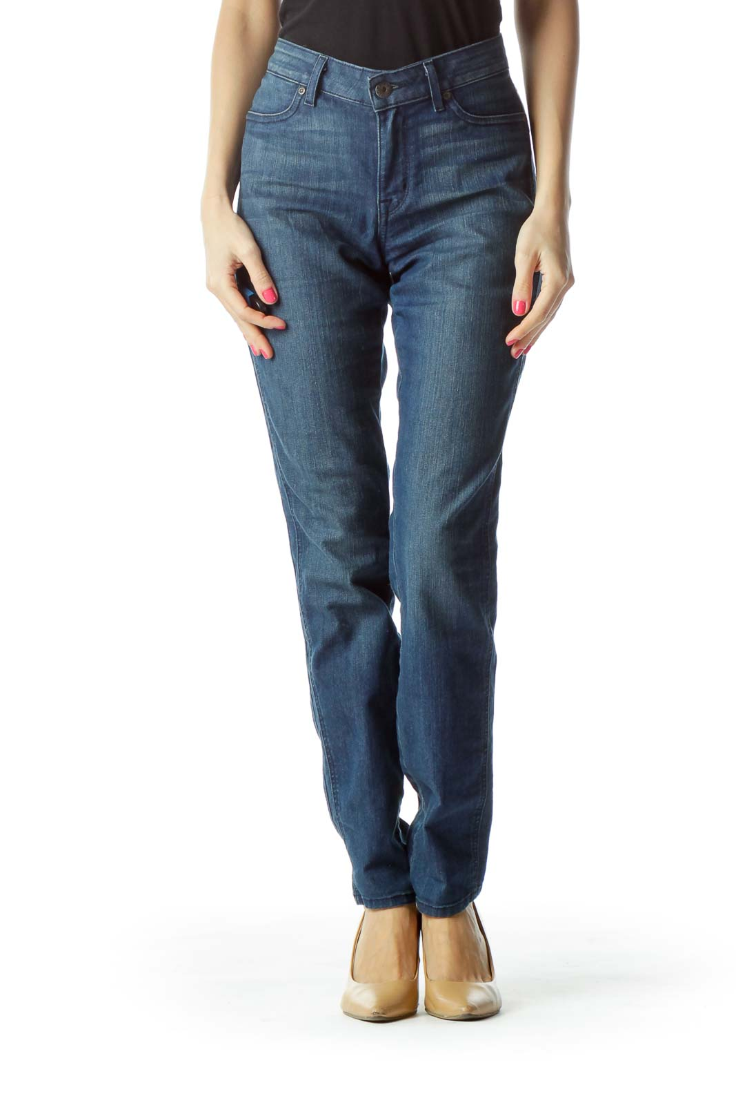 Blue Medium Wash Skinny Jean Front