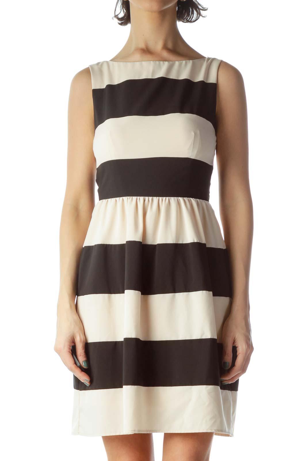 Black Beige Striped Dress Front