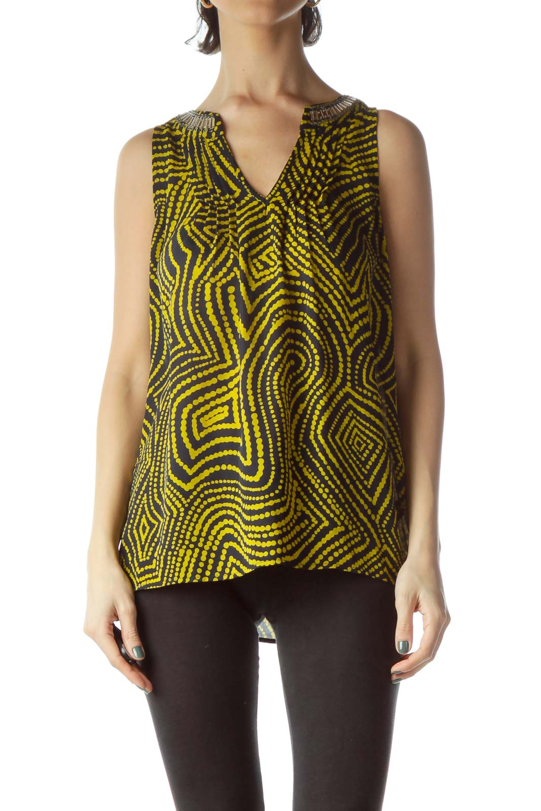 Black Yellow Print Neck Embellished Blouse Front