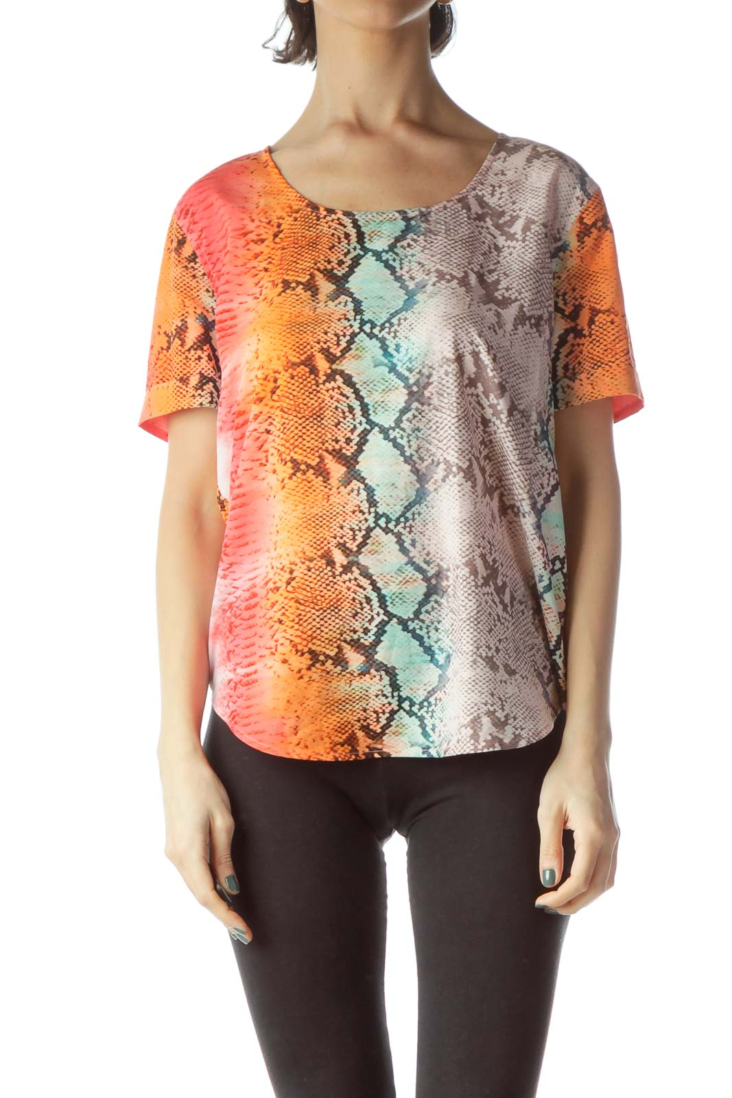 Multicolored Snakeskin Print Loose Blouse Front