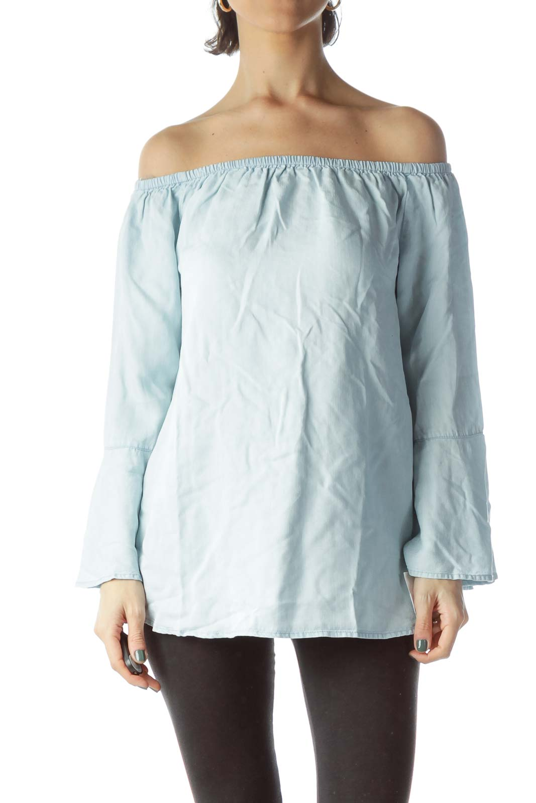 Light Blue Cold Shoulder Flared Blouse Front