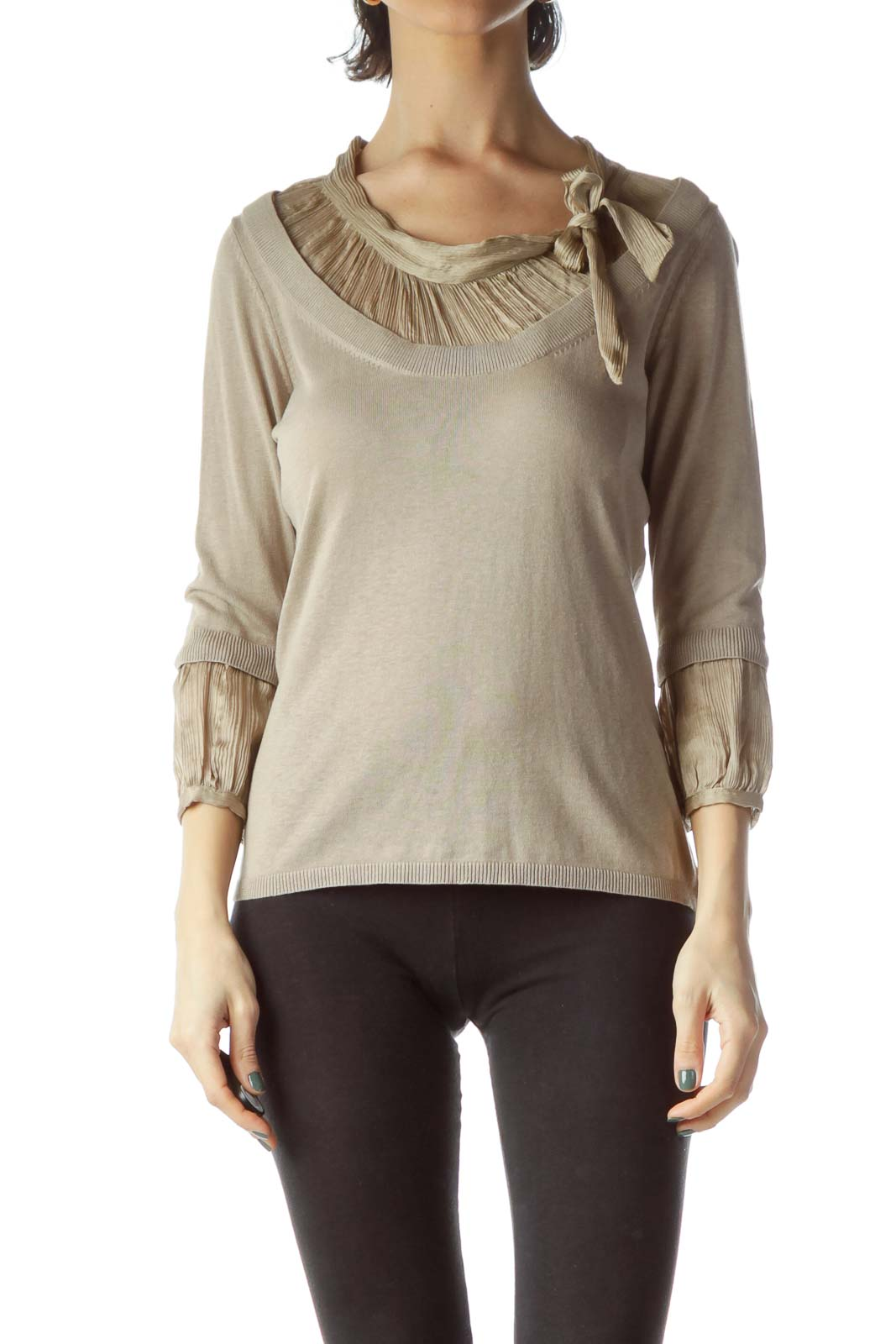 Beige Neck Bow 3/4 Sleeve Knit Top Front
