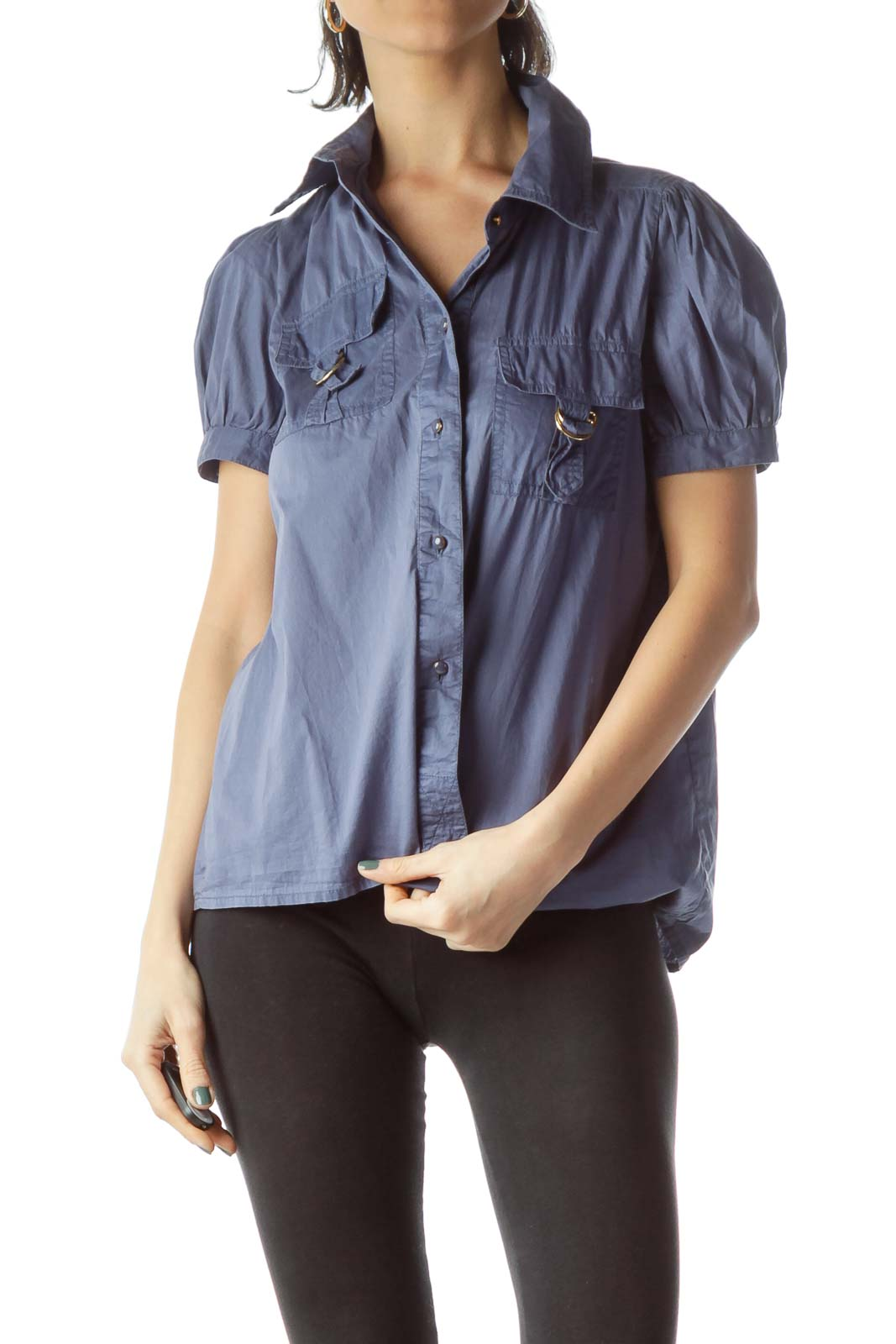 Blue Pocketed Metal Accents Short Sleeve Shirt Front