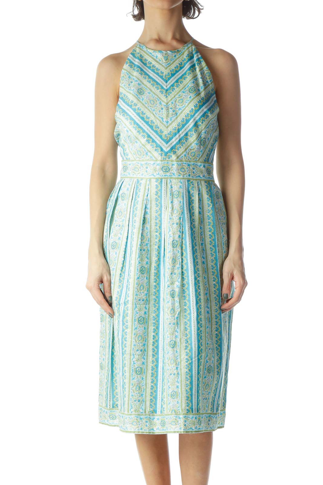 Light Blue Green High Neck Pleated Dress Front