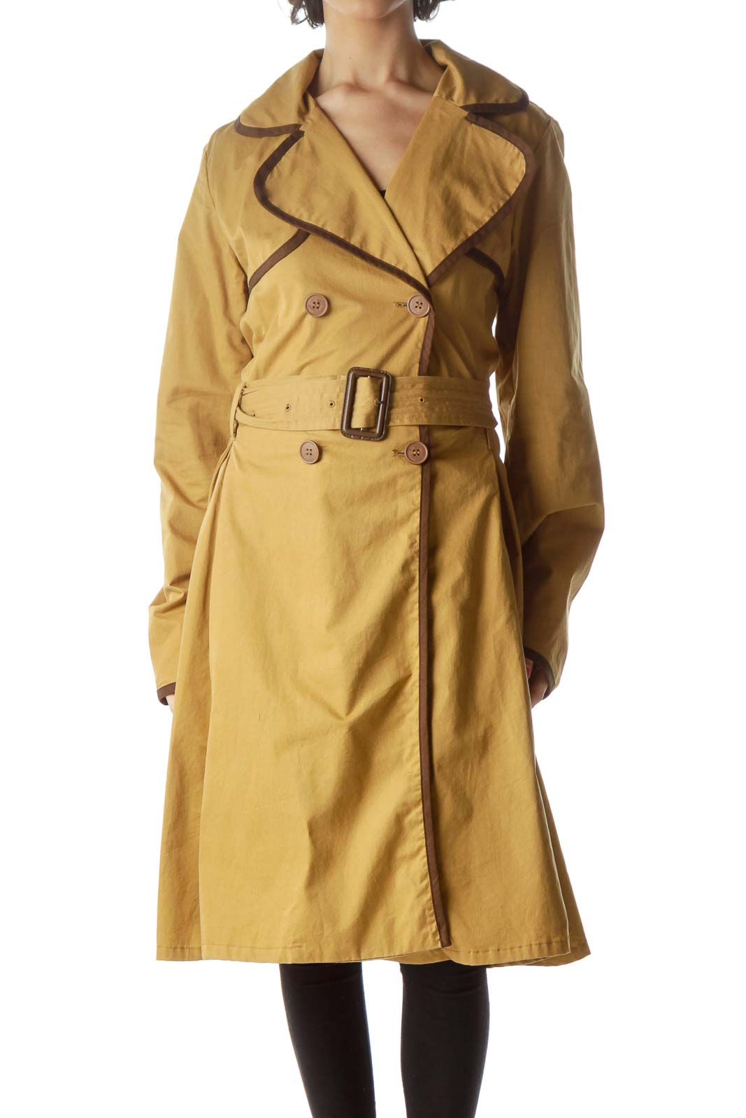 Brown Flared Trench Coat Front