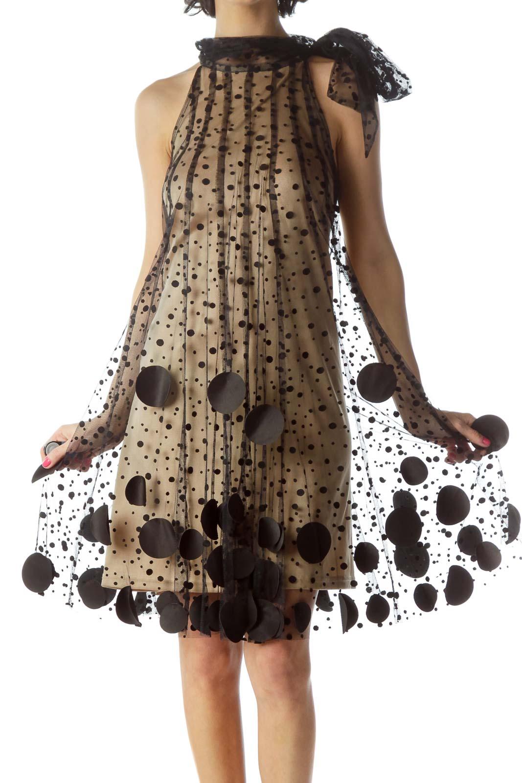 Black and Beige Mesh Halter Dress Front